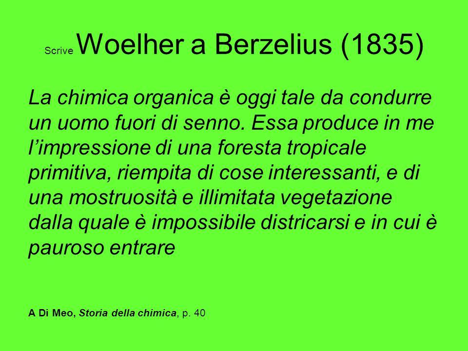 Scrive Woelher a Berzelius (1835) La chimica organica è oggi tale da condurre un uomo fuori di senno. Essa produce in me limpressione di una foresta t