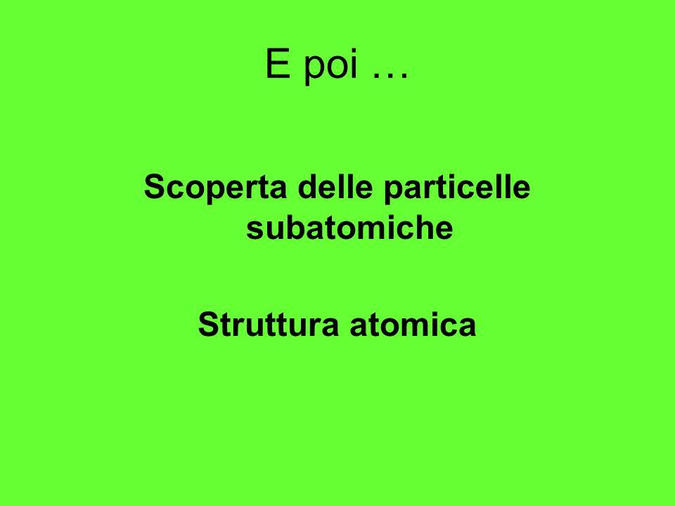 E poi … Scoperta delle particelle subatomiche Struttura atomica