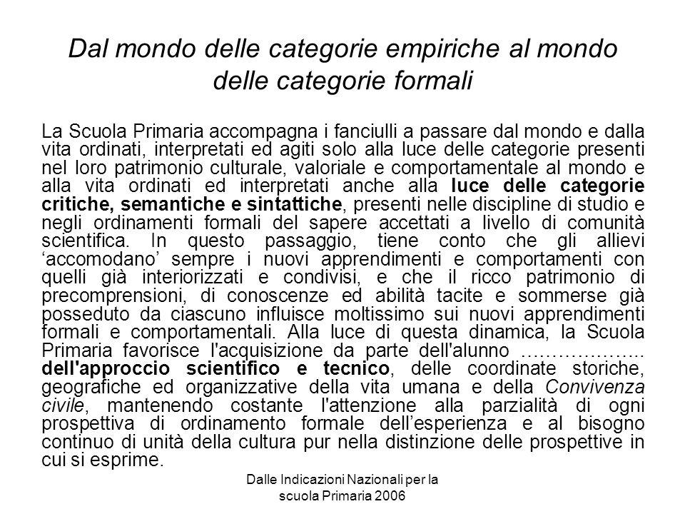 Dalle Indicazioni Nazionali per la scuola Primaria 2006 Dal mondo delle categorie empiriche al mondo delle categorie formali La Scuola Primaria accomp