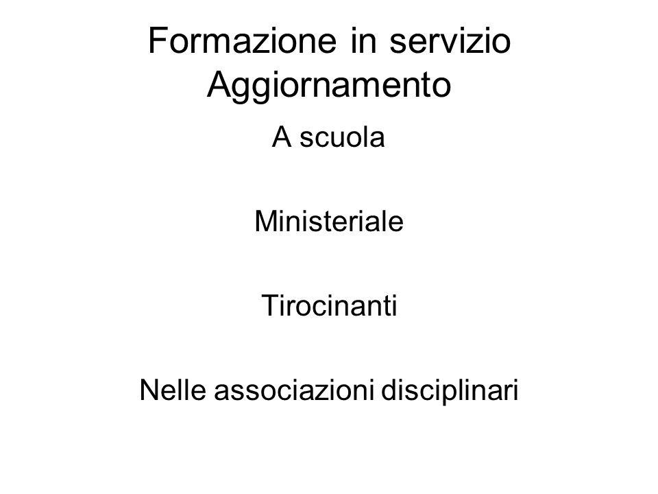 Formazione in servizio Aggiornamento A scuola Ministeriale Tirocinanti Nelle associazioni disciplinari