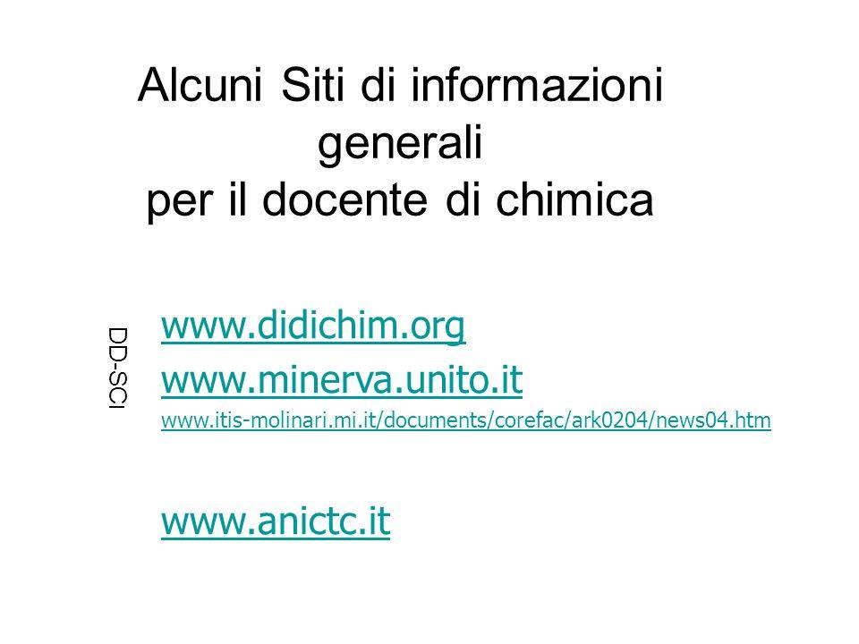 www.didichim.org www.minerva.unito.it www.itis-molinari.mi.it/documents/corefac/ark0204/news04.htm www.anictc.it Alcuni Siti di informazioni generali