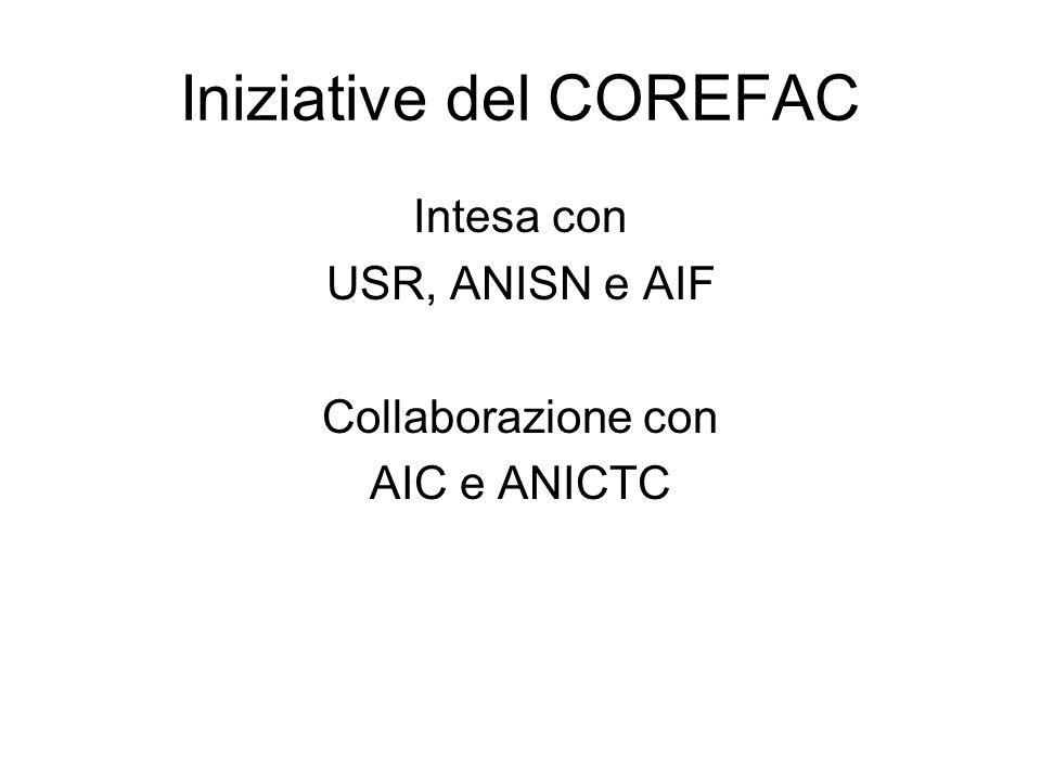 Iniziative del COREFAC Intesa con USR, ANISN e AIF Collaborazione con AIC e ANICTC