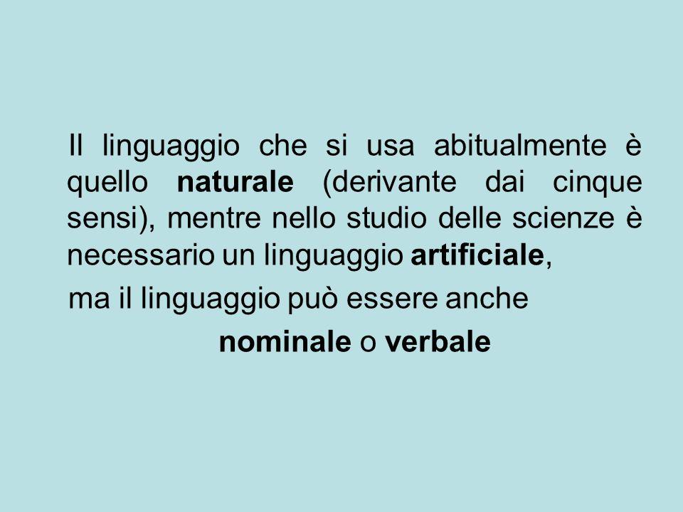 Il linguaggio che si usa abitualmente è quello naturale (derivante dai cinque sensi), mentre nello studio delle scienze è necessario un linguaggio art
