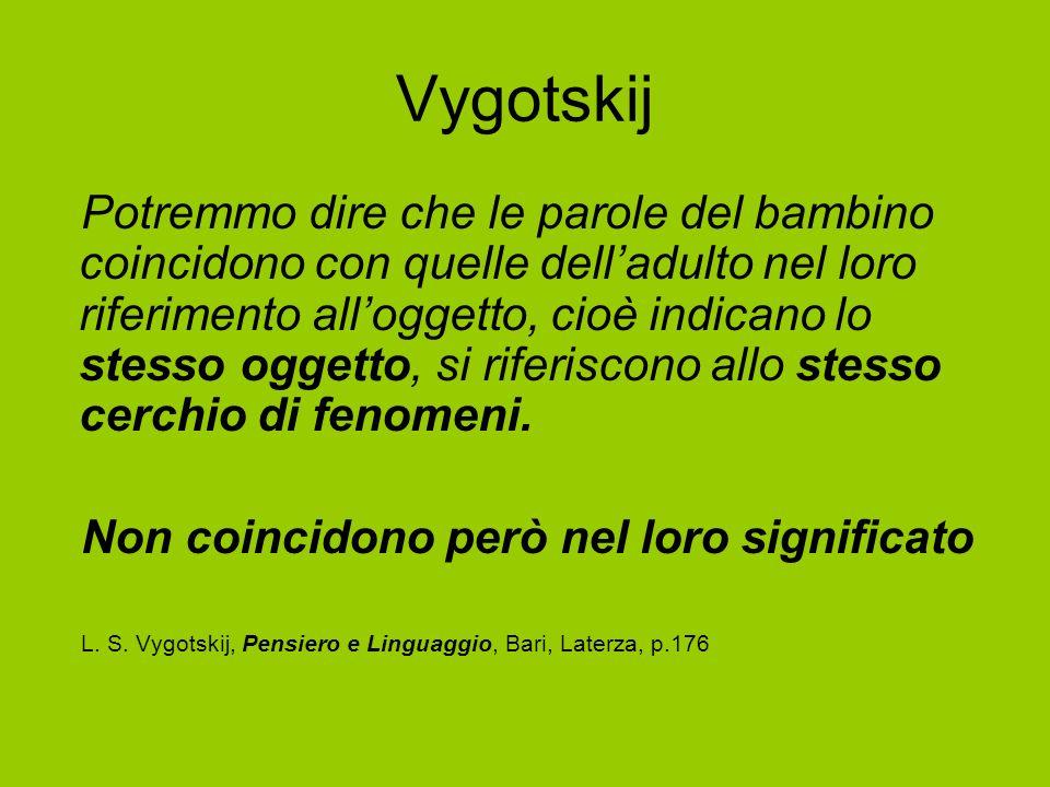 Vygotskij Potremmo dire che le parole del bambino coincidono con quelle delladulto nel loro riferimento alloggetto, cioè indicano lo stesso oggetto, s