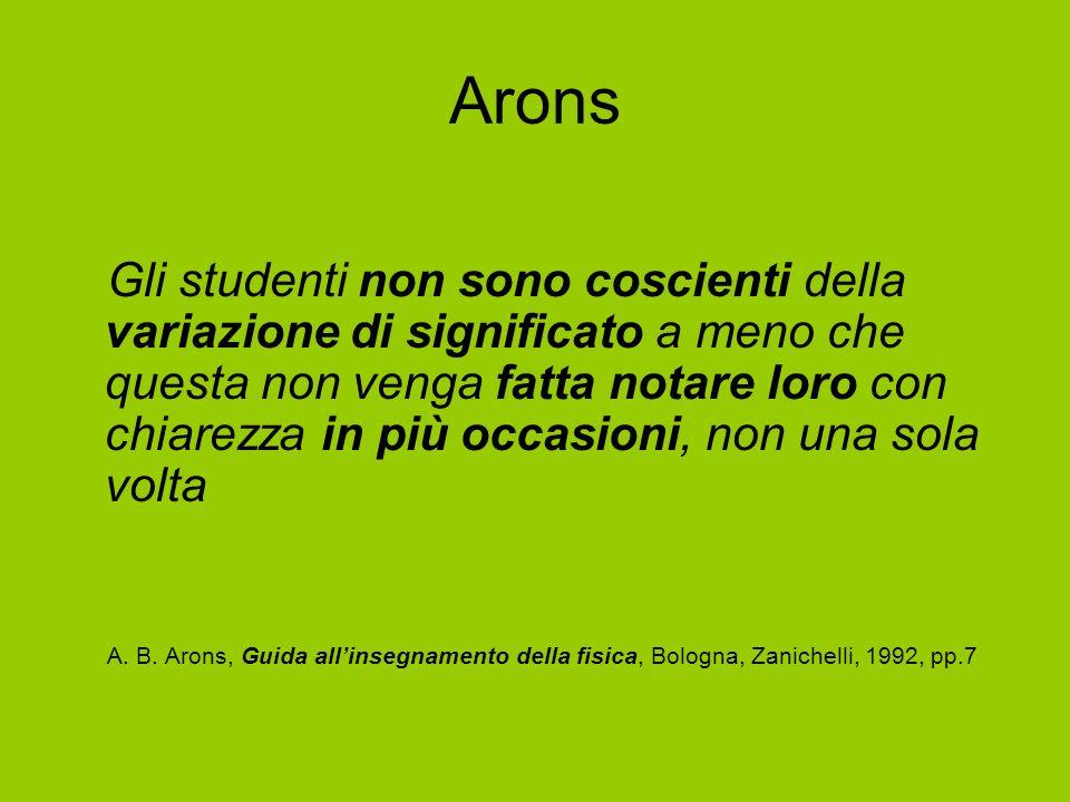 Arons Gli studenti non sono coscienti della variazione di significato a meno che questa non venga fatta notare loro con chiarezza in più occasioni, no