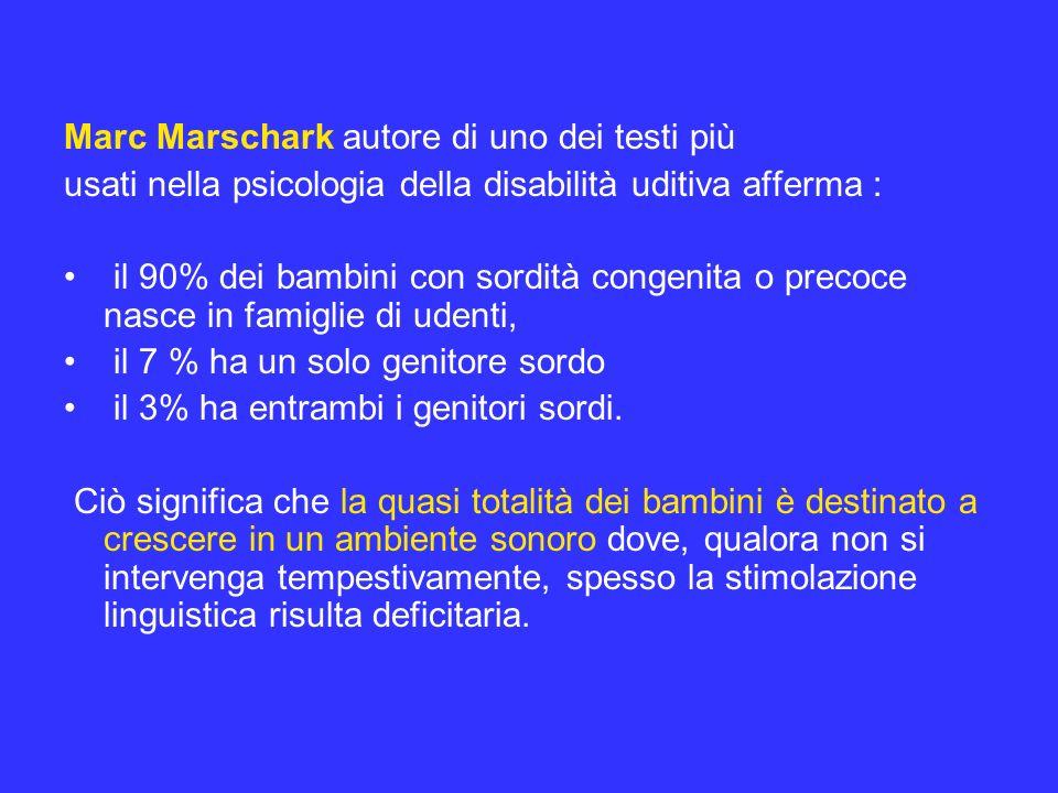Marc Marschark autore di uno dei testi più usati nella psicologia della disabilità uditiva afferma : il 90% dei bambini con sordità congenita o precoc