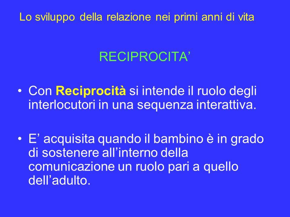 Lo sviluppo della relazione nei primi anni di vita RECIPROCITA Con Reciprocità si intende il ruolo degli interlocutori in una sequenza interattiva. E