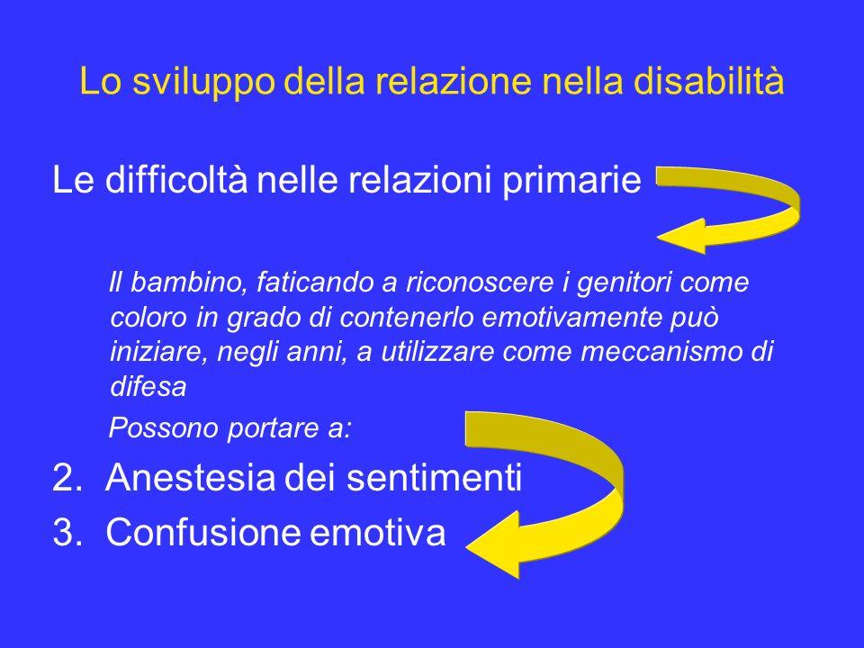 Lo sviluppo della relazione nella disabilità Le difficoltà nelle relazioni primarie Il bambino, faticando a riconoscere i genitori come coloro in grad