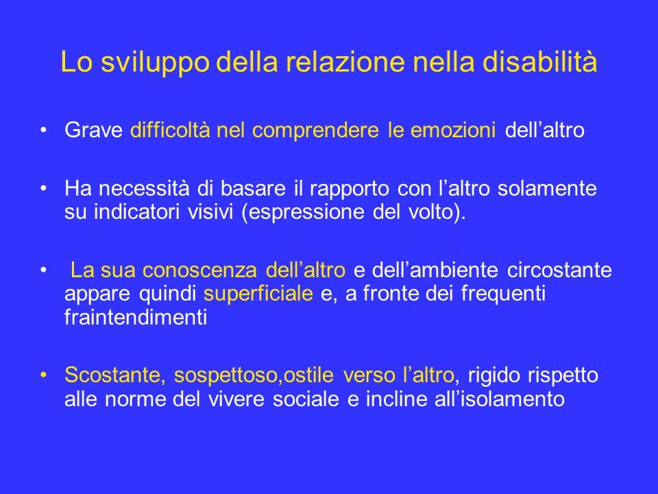 Lo sviluppo della relazione nella disabilità Grave difficoltà nel comprendere le emozioni dellaltro Ha necessità di basare il rapporto con laltro sola