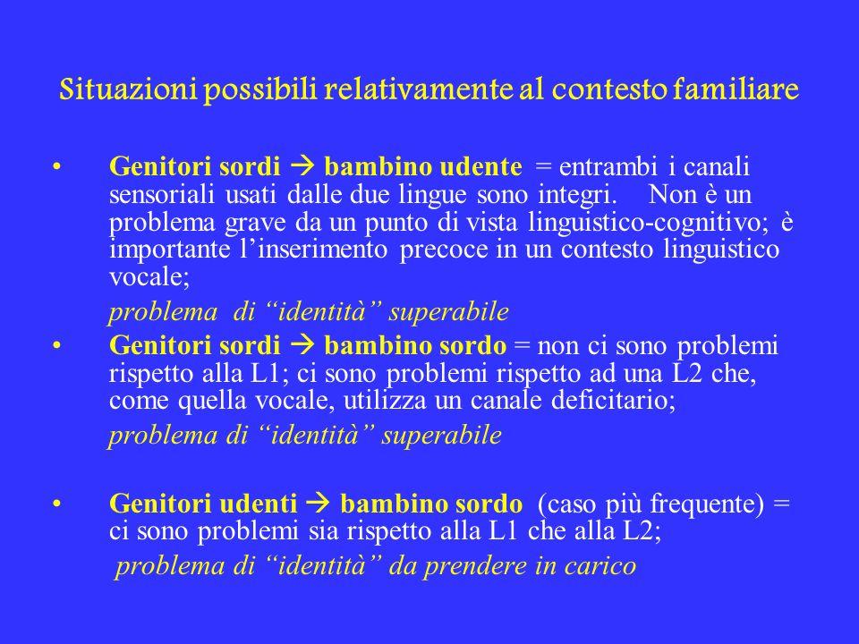 Situazioni possibili relativamente al contesto familiare Genitori sordi bambino udente = entrambi i canali sensoriali usati dalle due lingue sono inte