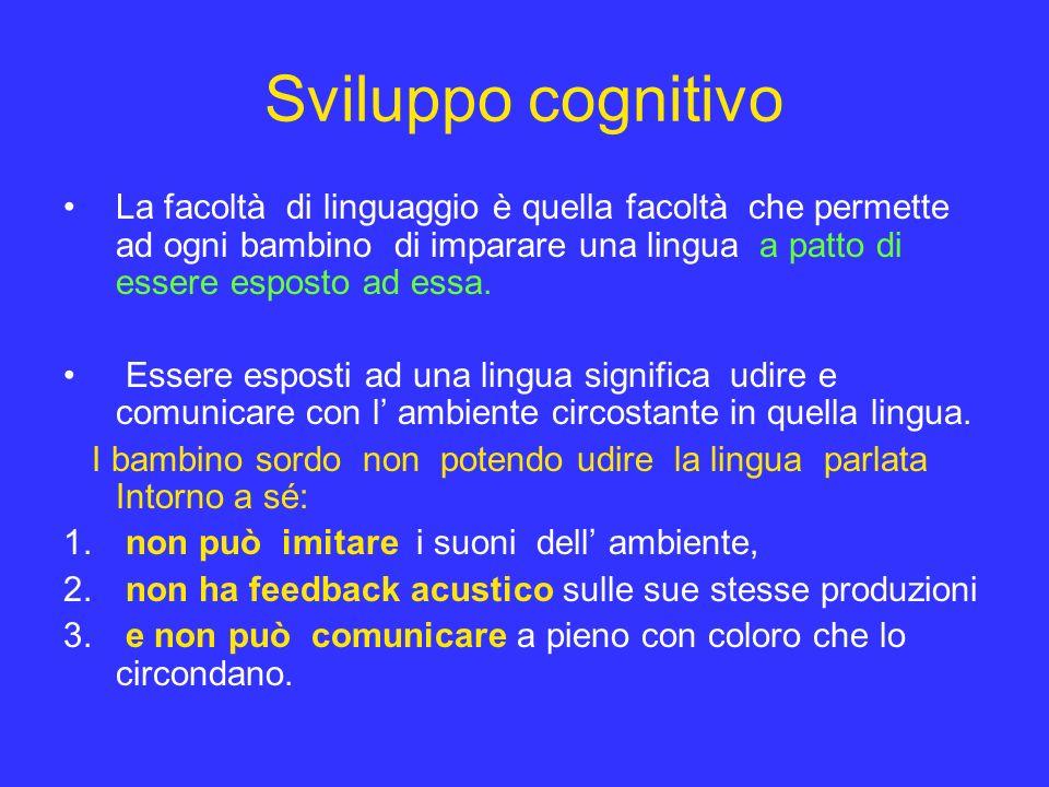 Sviluppo cognitivo La facoltà di linguaggio è quella facoltà che permette ad ogni bambino di imparare una lingua a patto di essere esposto ad essa. Es