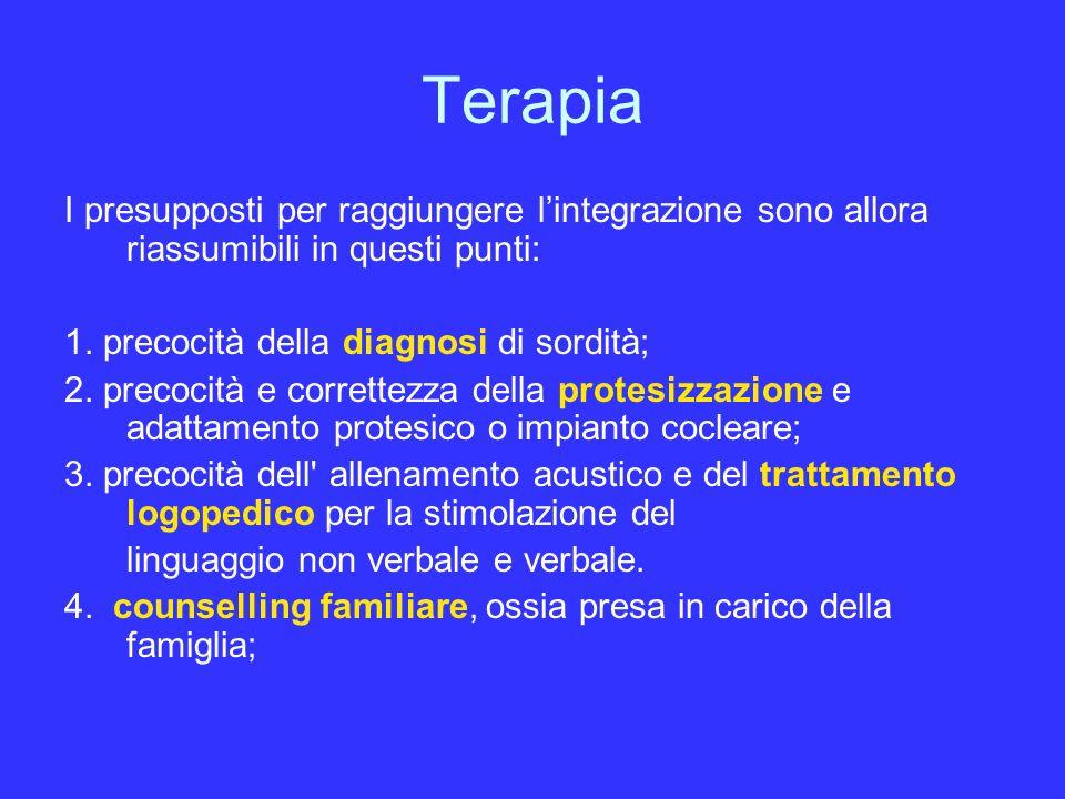 Terapia I presupposti per raggiungere lintegrazione sono allora riassumibili in questi punti: 1. precocità della diagnosi di sordità; 2. precocità e c