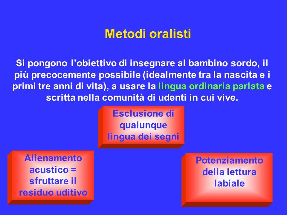 Metodi oralisti Si pongono lobiettivo di insegnare al bambino sordo, il più precocemente possibile (idealmente tra la nascita e i primi tre anni di vi