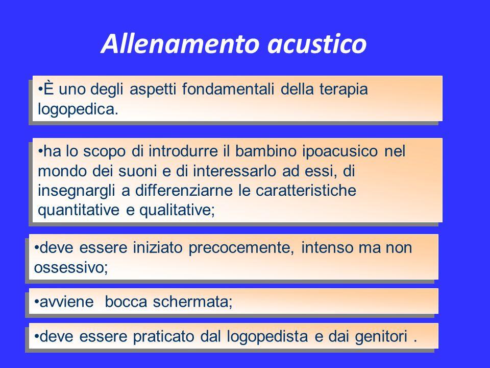Allenamento acustico È uno degli aspetti fondamentali della terapia logopedica. avviene bocca schermata; ha lo scopo di introdurre il bambino ipoacusi