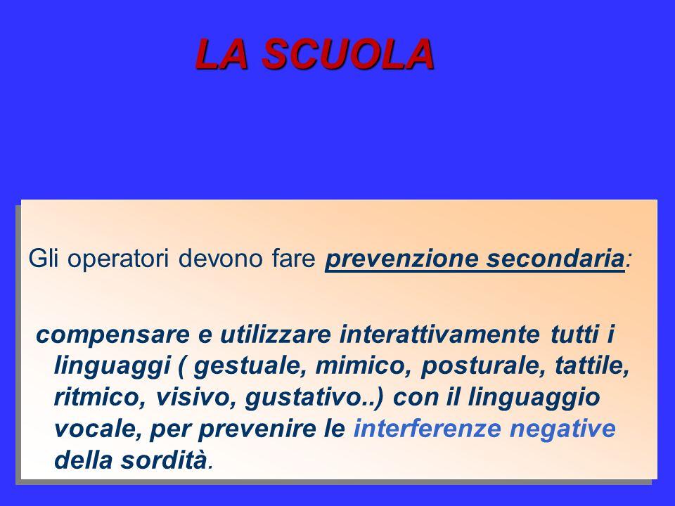 LA SCUOLA Gli operatori devono fare prevenzione secondaria: compensare e utilizzare interattivamente tutti i linguaggi ( gestuale, mimico, posturale,