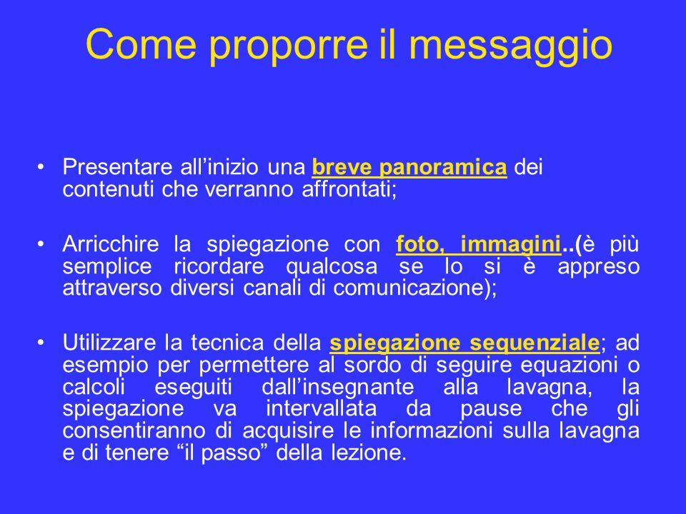 Come proporre il messaggio Presentare allinizio una breve panoramica dei contenuti che verranno affrontati; Arricchire la spiegazione con foto, immagi