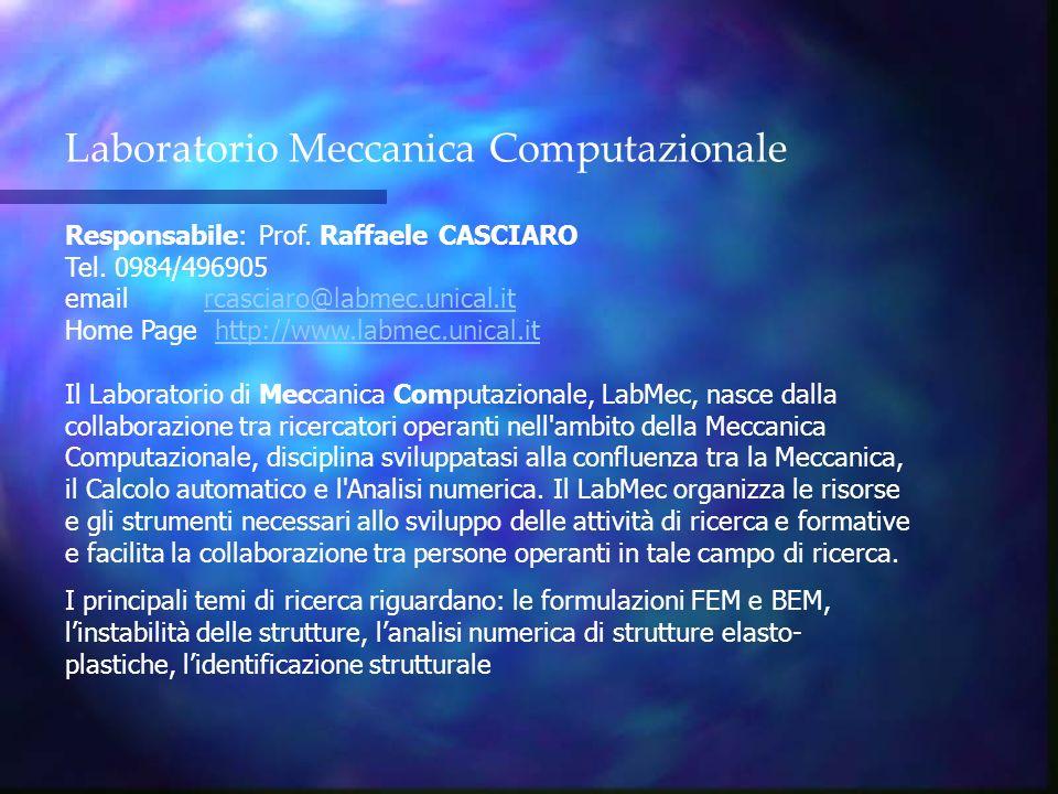 Laboratorio Meccanica Computazionale Responsabile: Prof. Raffaele CASCIARO Tel. 0984/496905 email rcasciaro@labmec.unical.it Home Page http://www.labm