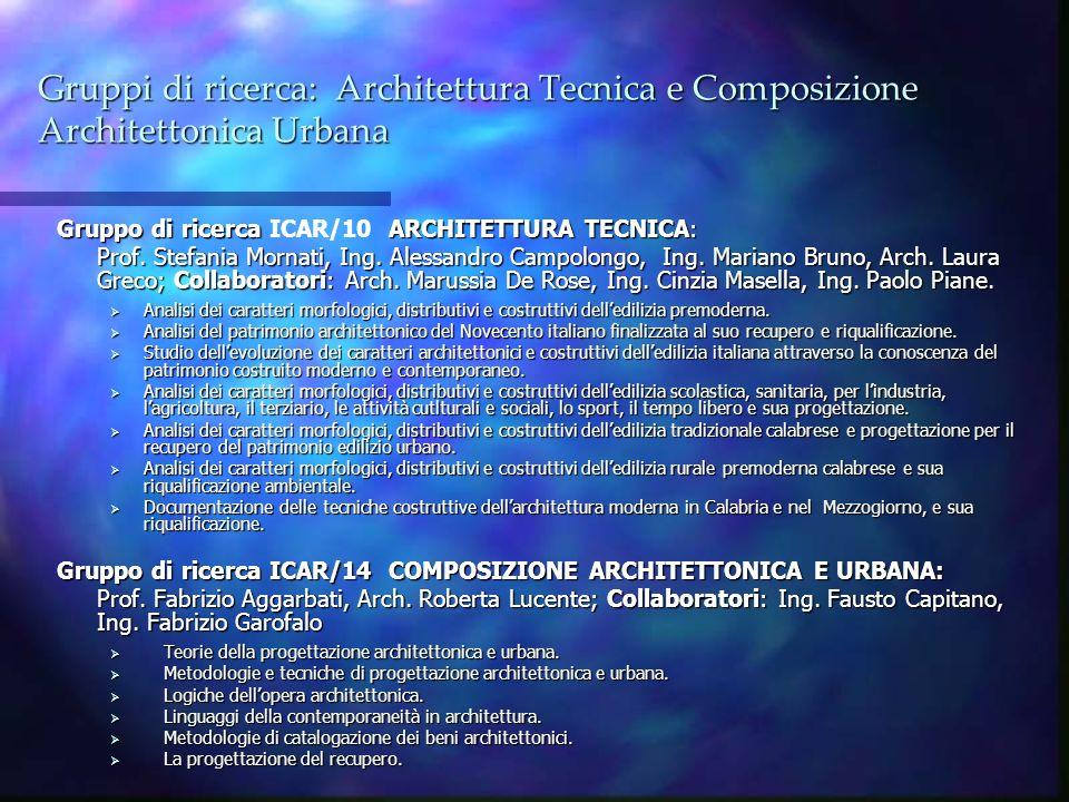 Gruppi di ricerca: Architettura Tecnica e Composizione Architettonica Urbana Gruppo di ricerca ARCHITETTURA TECNICA: Gruppo di ricerca ICAR/10 ARCHITE