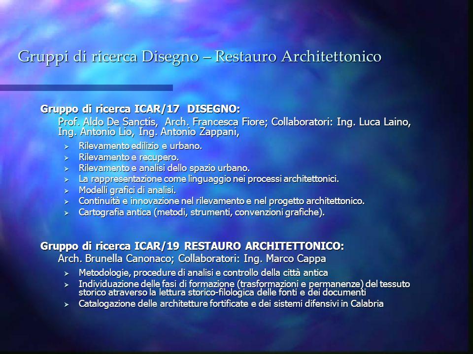 Gruppi di ricerca Disegno – Restauro Architettonico Gruppo di ricerca ICAR/17 DISEGNO: Prof. Aldo De Sanctis, Arch. Francesca Fiore; Collaboratori: In