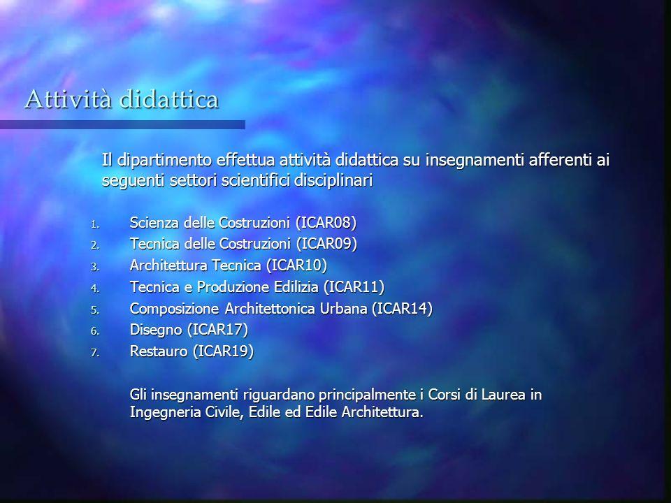 Attività didattica Il dipartimento effettua attività didattica su insegnamenti afferenti ai seguenti settori scientifici disciplinari 1. Scienza delle