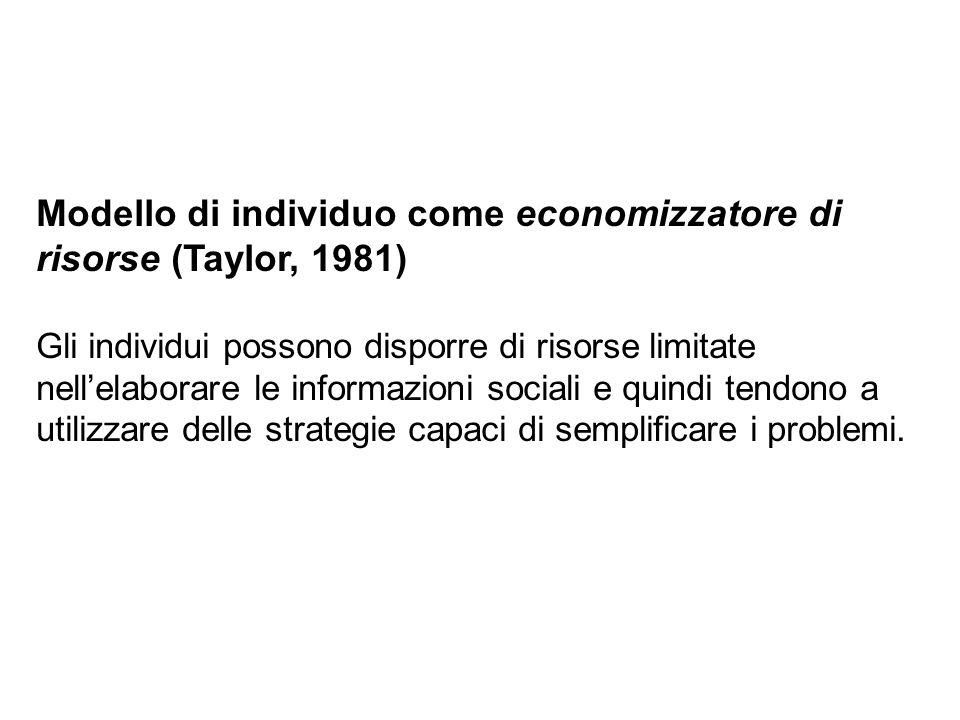 Modello di individuo come economizzatore di risorse (Taylor, 1981) Gli individui possono disporre di risorse limitate nellelaborare le informazioni so