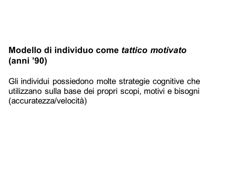 Modello di individuo come tattico motivato (anni 90) Gli individui possiedono molte strategie cognitive che utilizzano sulla base dei propri scopi, mo