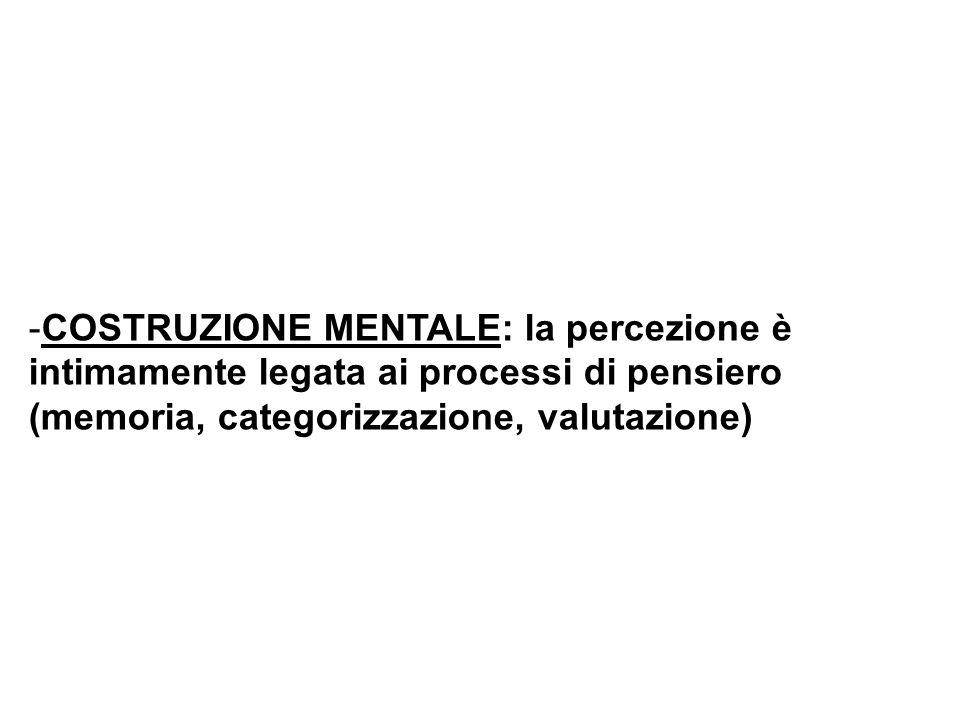 -COSTRUZIONE MENTALE: la percezione è intimamente legata ai processi di pensiero (memoria, categorizzazione, valutazione)
