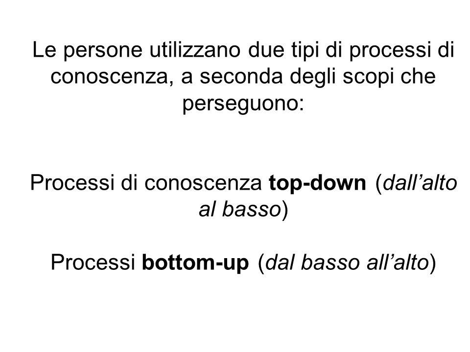 Le persone utilizzano due tipi di processi di conoscenza, a seconda degli scopi che perseguono: Processi di conoscenza top-down (dallalto al basso) Pr