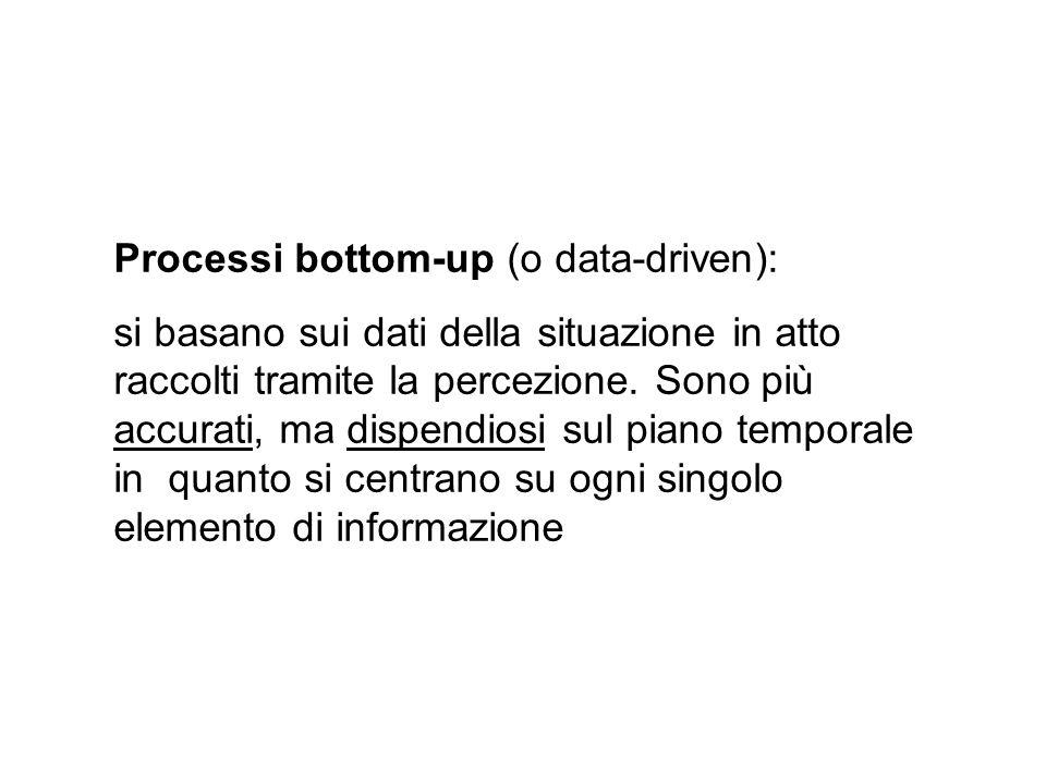 Processi bottom-up (o data-driven): si basano sui dati della situazione in atto raccolti tramite la percezione. Sono più accurati, ma dispendiosi sul