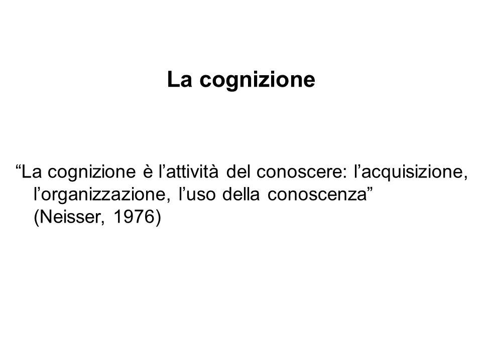 La cognizione La cognizione è lattività del conoscere: lacquisizione, lorganizzazione, luso della conoscenza (Neisser, 1976)