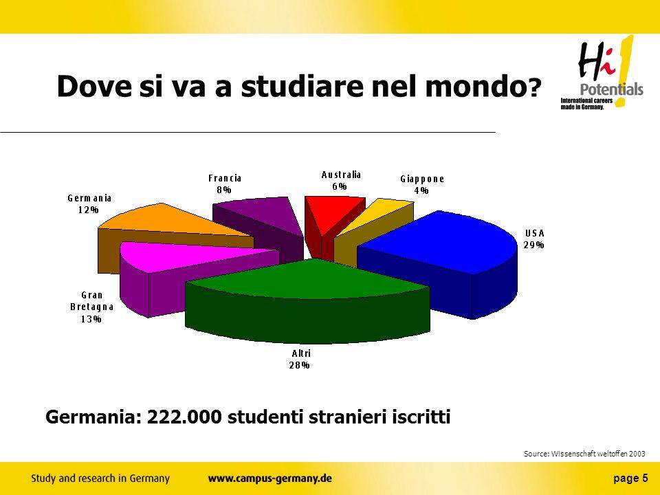 page 5 Germania: 222.000 studenti stranieri iscritti Dove si va a studiare nel mondo .