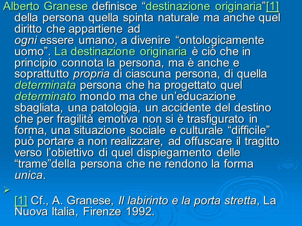 Alberto Granese definisce destinazione originaria[1] della persona quella spinta naturale ma anche quel diritto che appartiene ad ogni essere umano, a