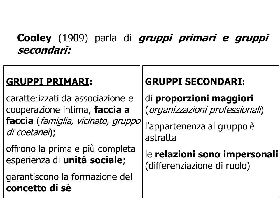 Cooley (1909) parla di gruppi primari e gruppi secondari: GRUPPI PRIMARI: caratterizzati da associazione e cooperazione intima, faccia a faccia ( fami