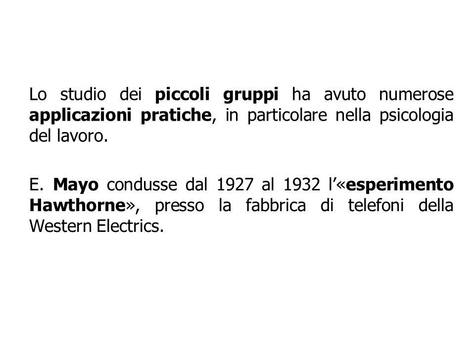 Lo studio dei piccoli gruppi ha avuto numerose applicazioni pratiche, in particolare nella psicologia del lavoro. E. Mayo condusse dal 1927 al 1932 l«