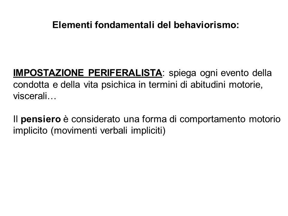 Elementi fondamentali del behaviorismo: IMPOSTAZIONE PERIFERALISTA: spiega ogni evento della condotta e della vita psichica in termini di abitudini mo