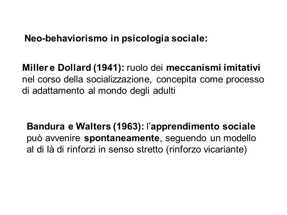 Neo-behaviorismo in psicologia sociale: Miller e Dollard (1941): ruolo dei meccanismi imitativi nel corso della socializzazione, concepita come proces