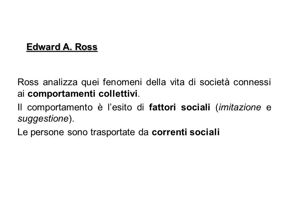 Ross analizza quei fenomeni della vita di società connessi ai comportamenti collettivi. Il comportamento è lesito di fattori sociali (imitazione e sug