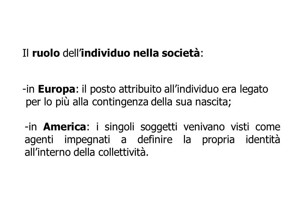 Il ruolo dellindividuo nella società: -in Europa: il posto attribuito allindividuo era legato per lo più alla contingenza della sua nascita; -in Ameri