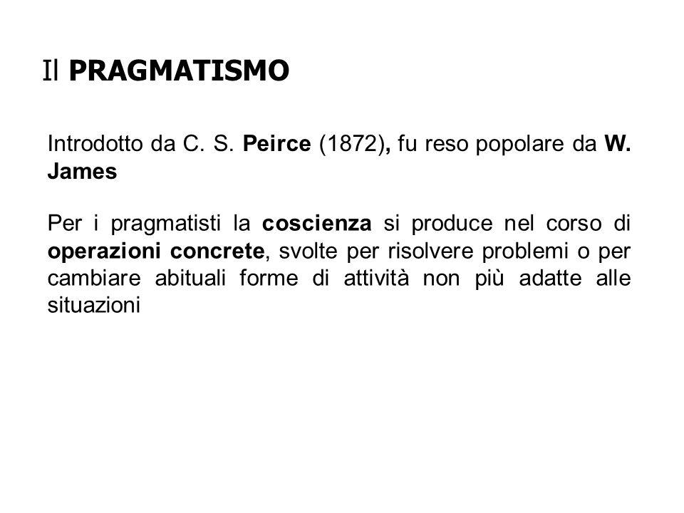 Introdotto da C. S. Peirce (1872), fu reso popolare da W. James Per i pragmatisti la coscienza si produce nel corso di operazioni concrete, svolte per