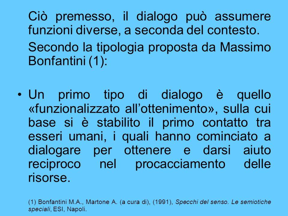 Ciò premesso, il dialogo può assumere funzioni diverse, a seconda del contesto. Secondo la tipologia proposta da Massimo Bonfantini (1): Un primo tipo