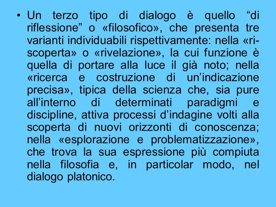 Un terzo tipo di dialogo è quello di riflessione o «filosofico», che presenta tre varianti individuabili rispettivamente: nella «ri- scoperta» o «rive
