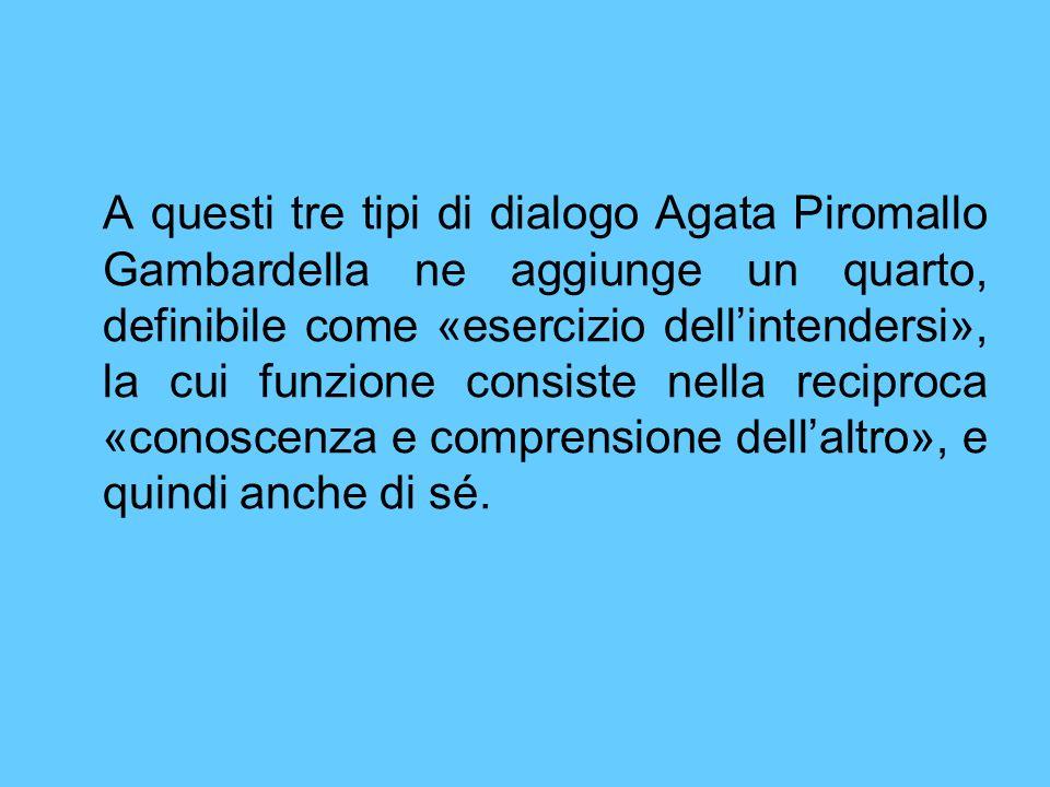A questi tre tipi di dialogo Agata Piromallo Gambardella ne aggiunge un quarto, definibile come «esercizio dellintendersi», la cui funzione consiste n