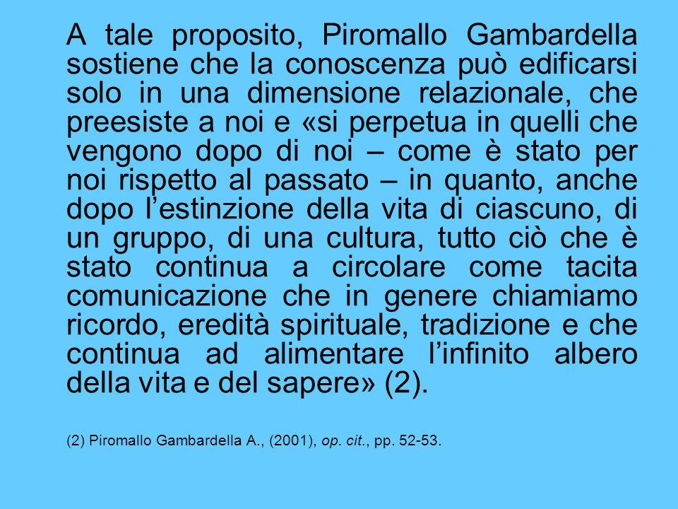 A tale proposito, Piromallo Gambardella sostiene che la conoscenza può edificarsi solo in una dimensione relazionale, che preesiste a noi e «si perpet