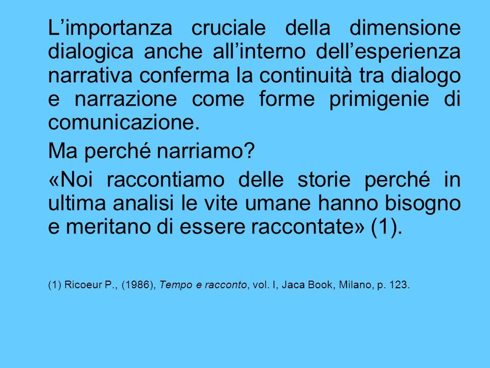 Limportanza cruciale della dimensione dialogica anche allinterno dellesperienza narrativa conferma la continuità tra dialogo e narrazione come forme p