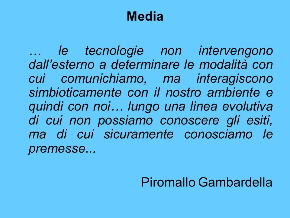 Media … le tecnologie non intervengono dallesterno a determinare le modalità con cui comunichiamo, ma interagiscono simbioticamente con il nostro ambi