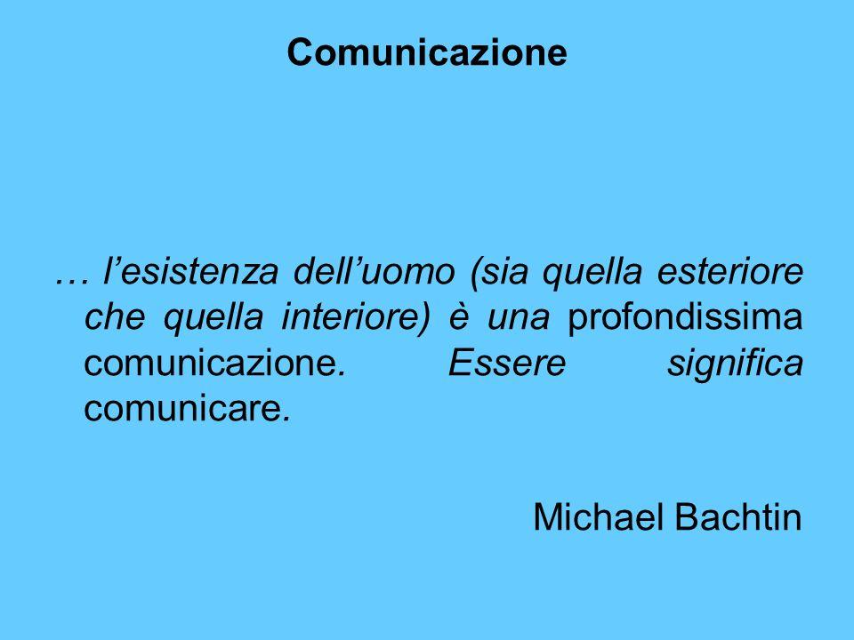 Comunicazione … lesistenza delluomo (sia quella esteriore che quella interiore) è una profondissima comunicazione. Essere significa comunicare. Michae