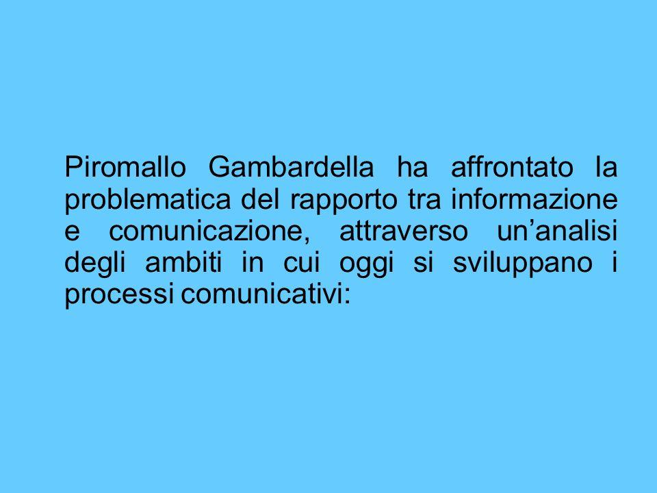 Piromallo Gambardella ha affrontato la problematica del rapporto tra informazione e comunicazione, attraverso unanalisi degli ambiti in cui oggi si sv