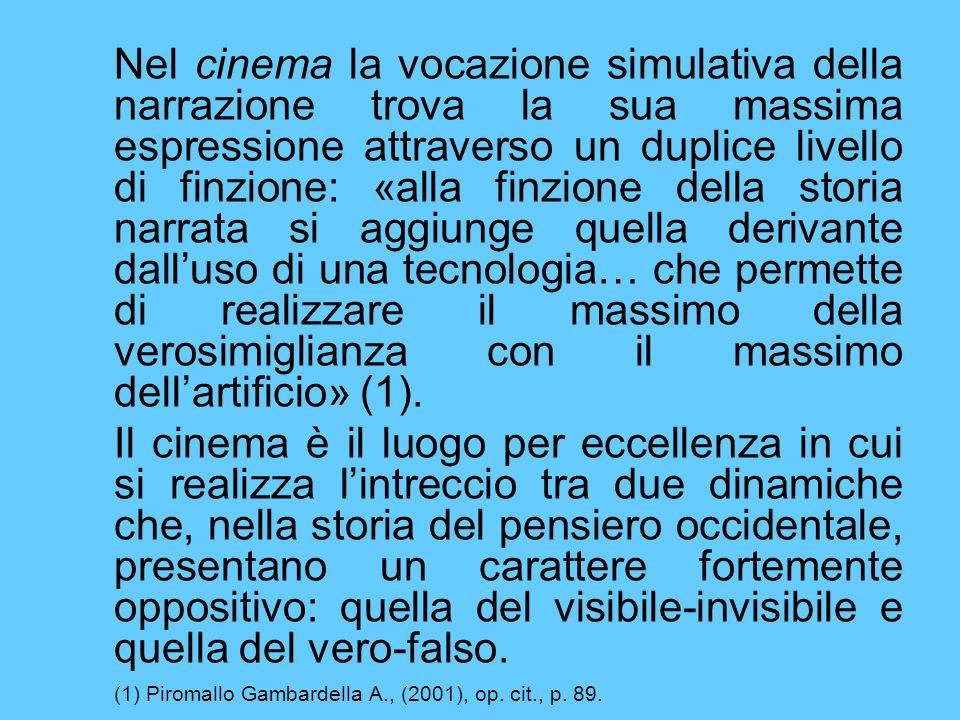 Nel cinema la vocazione simulativa della narrazione trova la sua massima espressione attraverso un duplice livello di finzione: «alla finzione della s
