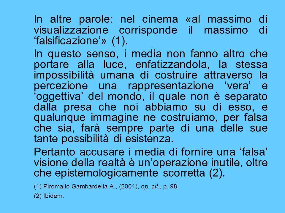 In altre parole: nel cinema «al massimo di visualizzazione corrisponde il massimo di falsificazione» (1). In questo senso, i media non fanno altro che
