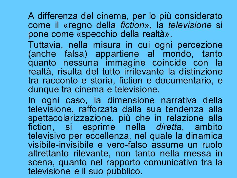 A differenza del cinema, per lo più considerato come il «regno della fiction», la televisione si pone come «specchio della realtà». Tuttavia, nella mi